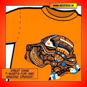 Great Dane T-Shirts Exclusively on WoofBox.in (Amazing Orange)