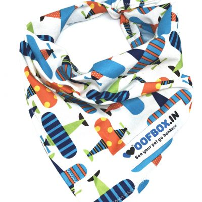 Airplane Dog Bandana White