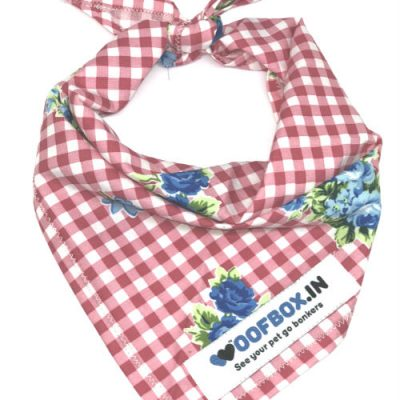 Floral Red Check Dog Bandana