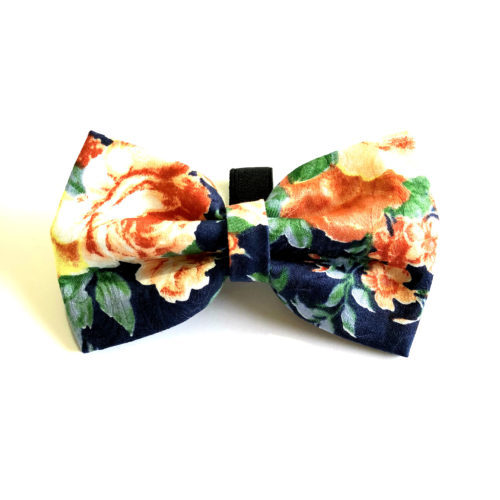 Floral Blue and Yellow Bow Tie